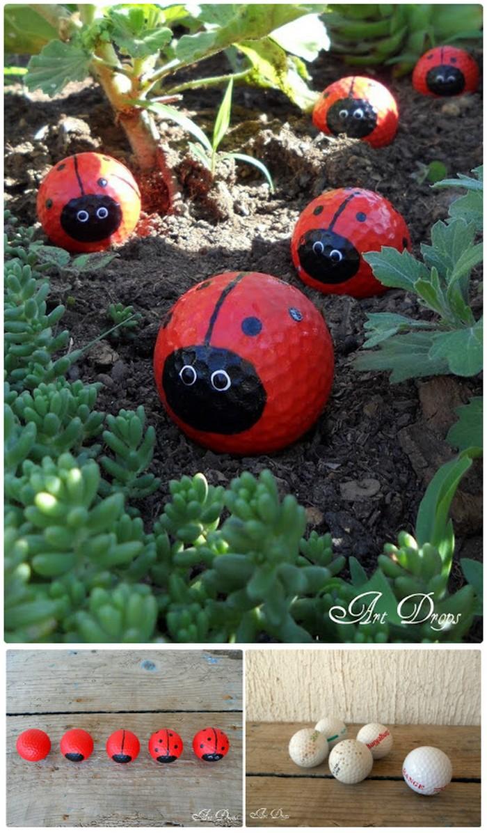 Adorable DIY Golf Ball Ladybugs 21 Lovely DIY Garden Decor Ideas You Will Love