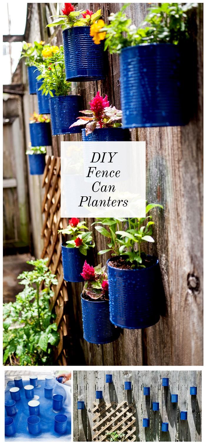 Backyard Tin Can Fence Garden1 21 Lovely DIY Garden Decor Ideas You Will Love