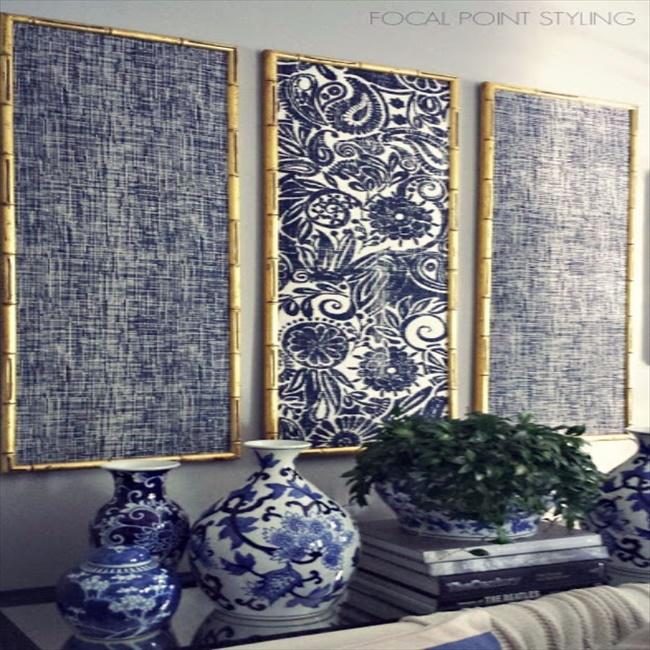 diy-indigo-wall-art-with-framed-fabric