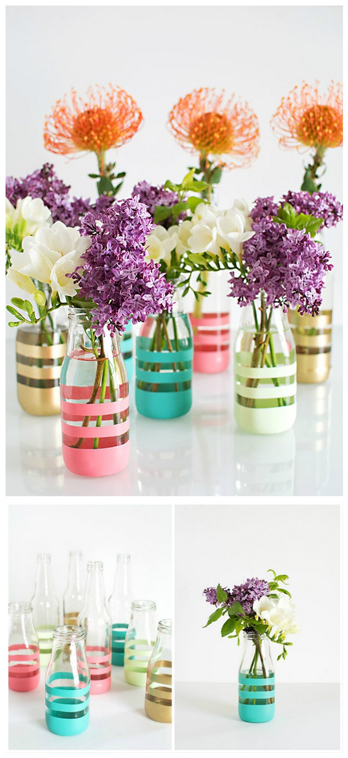 DIY Painted Glass Bottle Vase