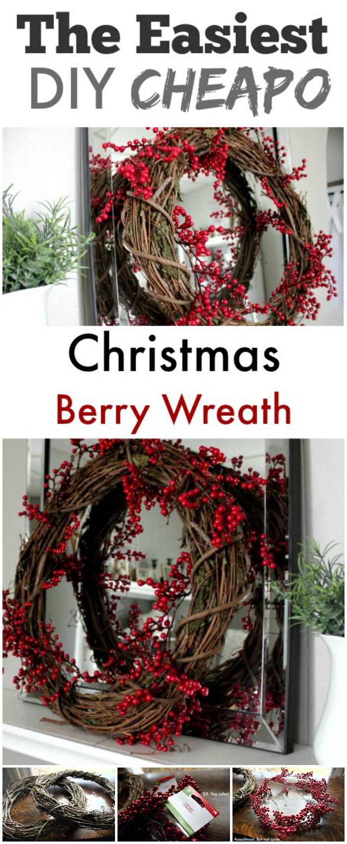 DIY Red Berry Wreath on the Cheap