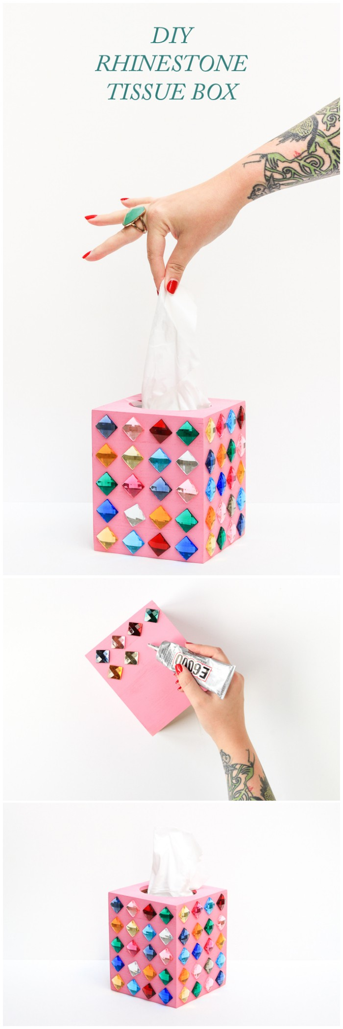 DIY Rhinestone Tissue Box