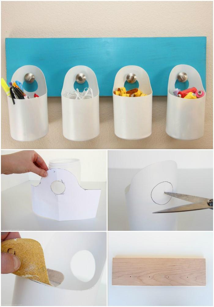 Creative DIY ways to reuse plastic bottles Hanging Storage Bins