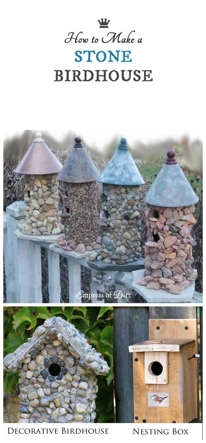 How To Make A Stone Birdhouse 21 Lovely DIY Garden Decor Ideas You Will Love