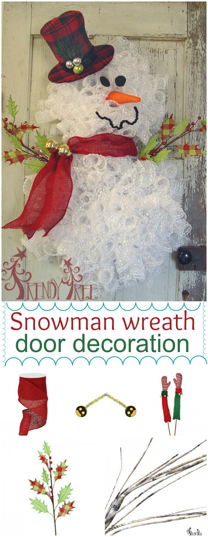 Snowman wreath door decoration