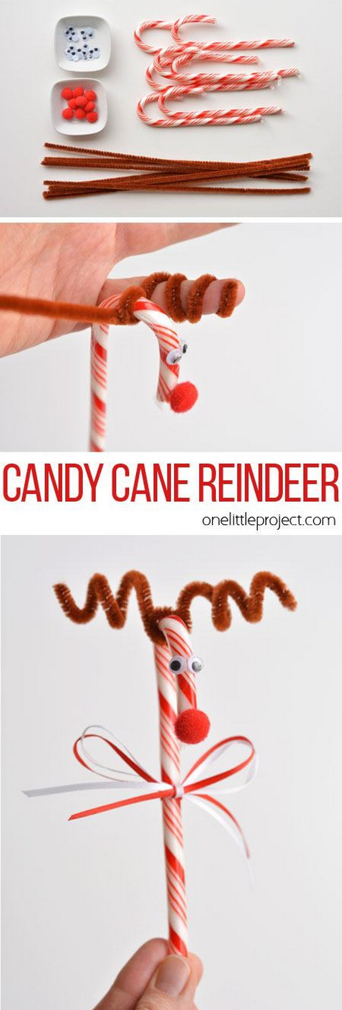 Candy Cane Reindeer 25 Interesting Ideas to Make Easy Christmas Crafts