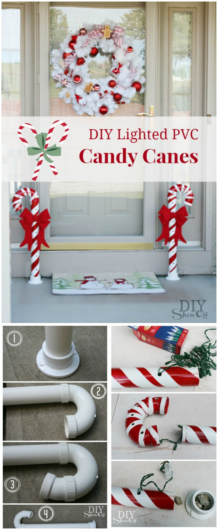candy canes made from pvc pipe 21 cheap diy outdoor christmas decorations