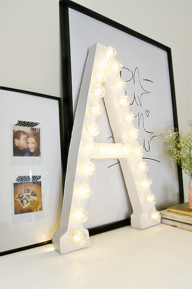 DIY Marquee Letters - DIY Bedroom Décor Ideas