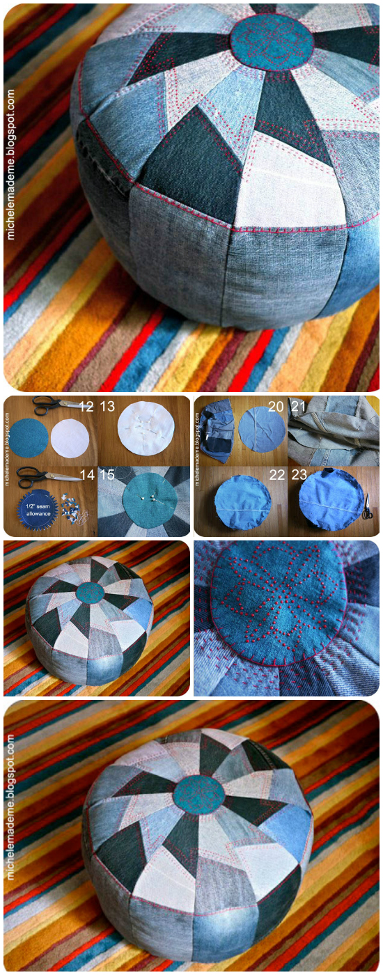 21 Amazing DIY Recycle Jean Ideas You Must Try DIY Recycled Denim Poof