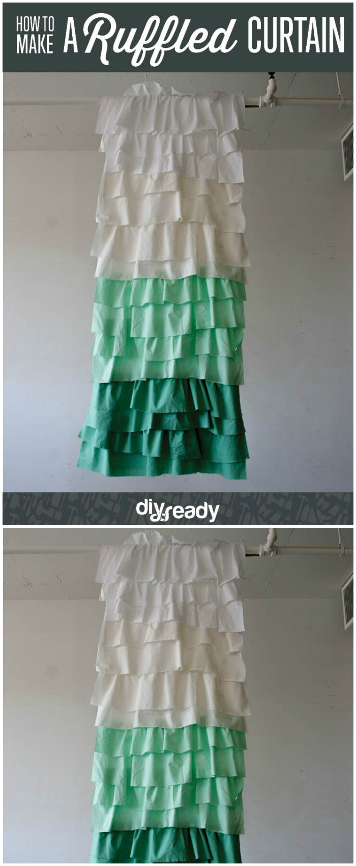 25 interesting DIY bathroom ideas on your budget DIY Ruffled Shower Curtain
