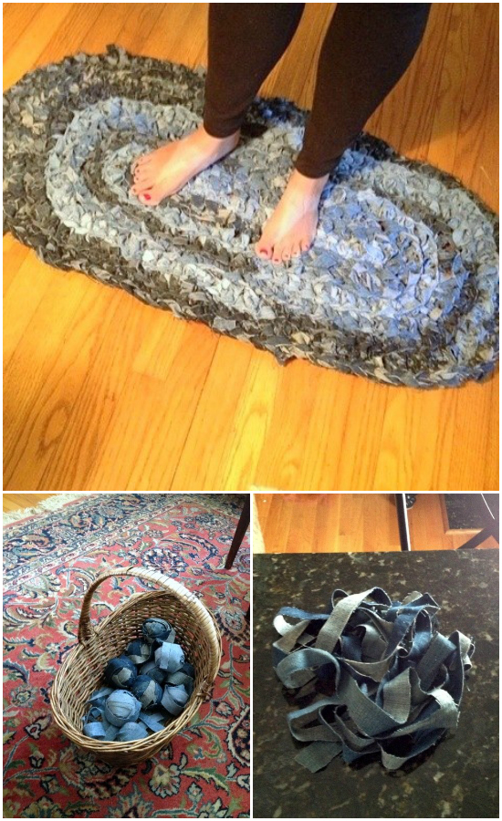 21 Amazing DIY Recycle Jean Ideas You Must Try  DIY Denim Rug: Give Old Jeans New Life