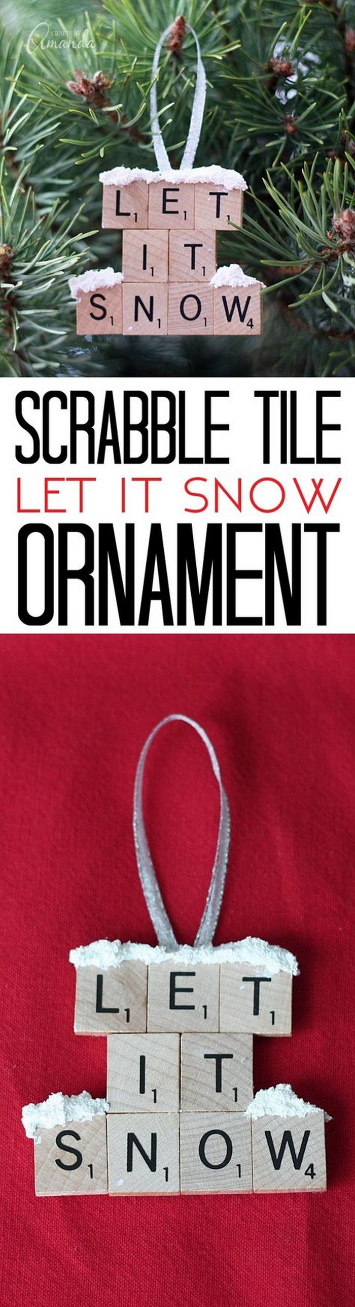 Let it Snow – Scrabble Tile Ornament 25 Interesting Ideas to Make Easy Christmas Crafts
