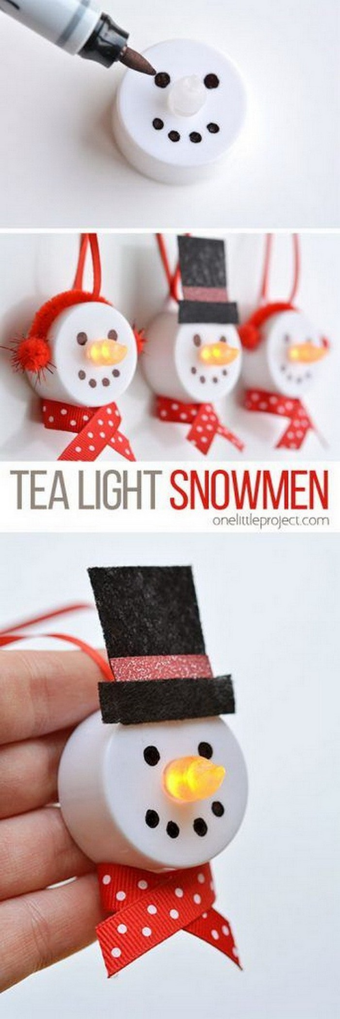 Light Snowman Ornaments - DIY Christmas crafts
