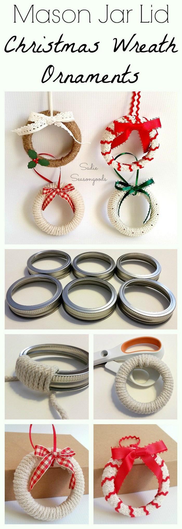 Mason Jar Lid Wreath Ornaments 25 Interesting Ideas to Make Easy Christmas Crafts