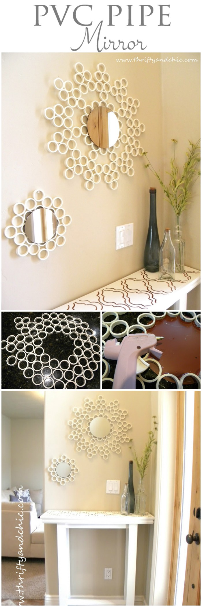 25 interesting DIY bathroom ideas on your budget PVC Pipe Mirror
