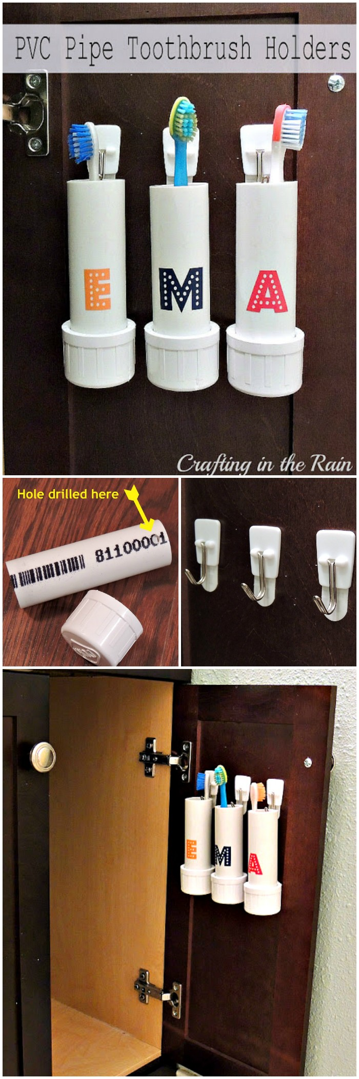 25 interesting DIY bathroom ideas on your budget PVC Pipe Toothbrush Holders
