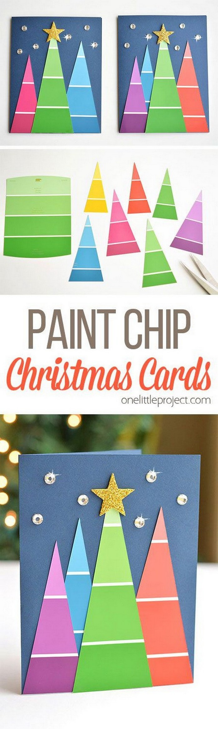 Paint Chip Christmas Cards - DIY Christmas crafts