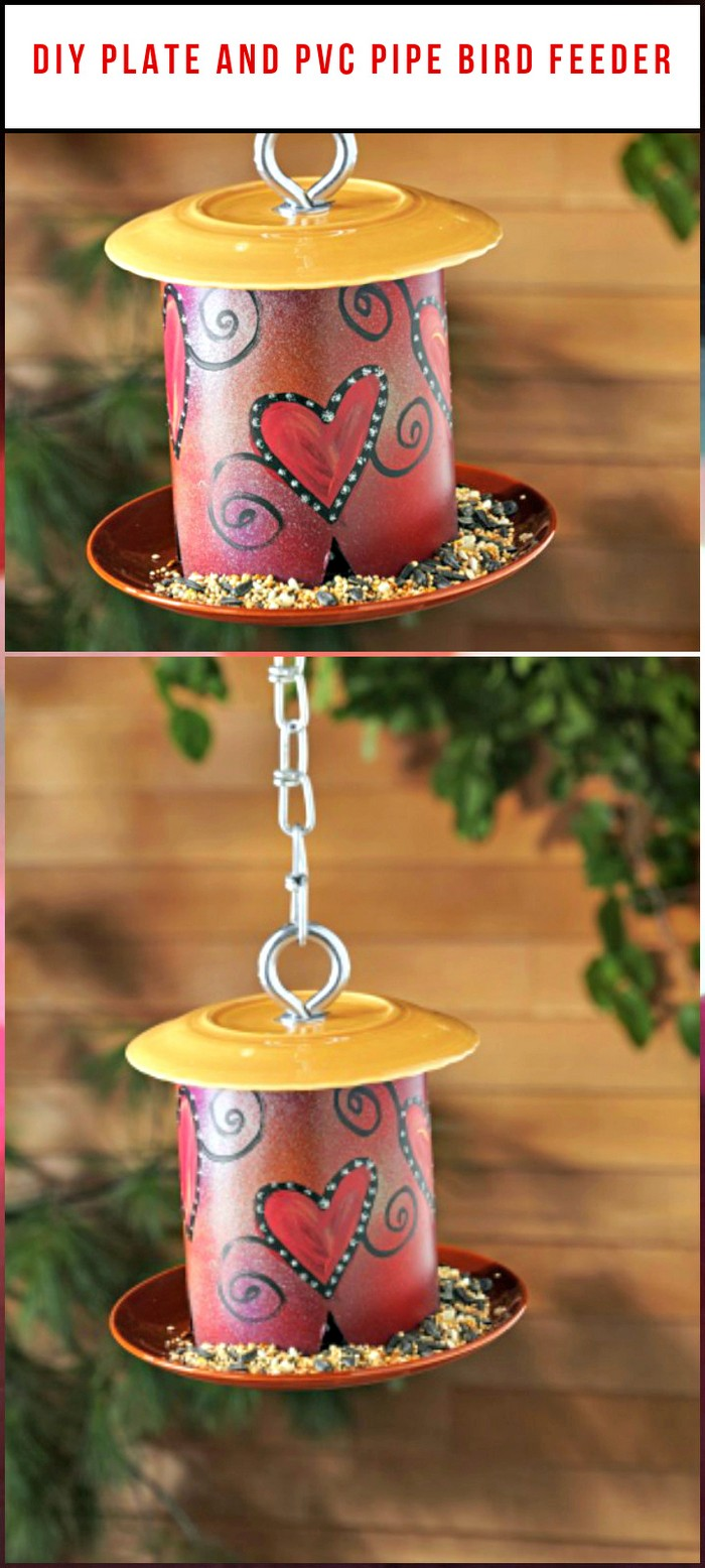 Plate and PVC Pipe Bird Feeder - diy birdfeeder | diy birdfeeder for kids | diy birdfeeders homemade | diy birdfeeder hanger | diy birdfeeder homemade bird feeders