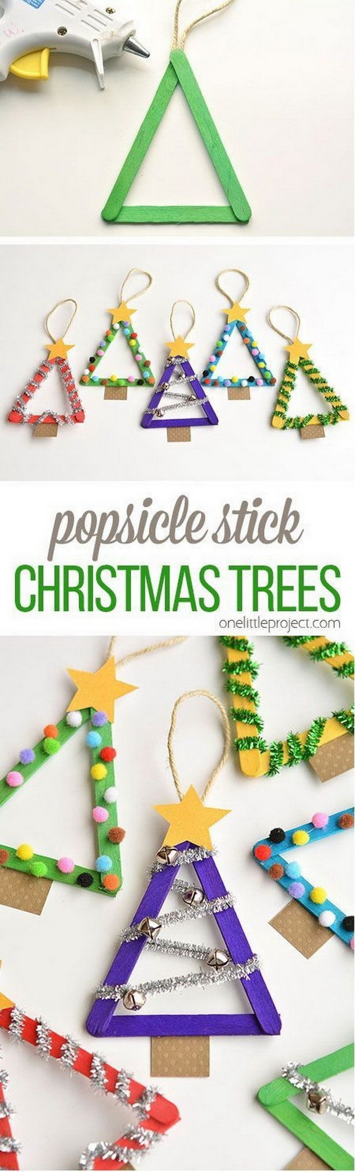 Popsicle Stick Christmas Trees - DIY Christmas crafts