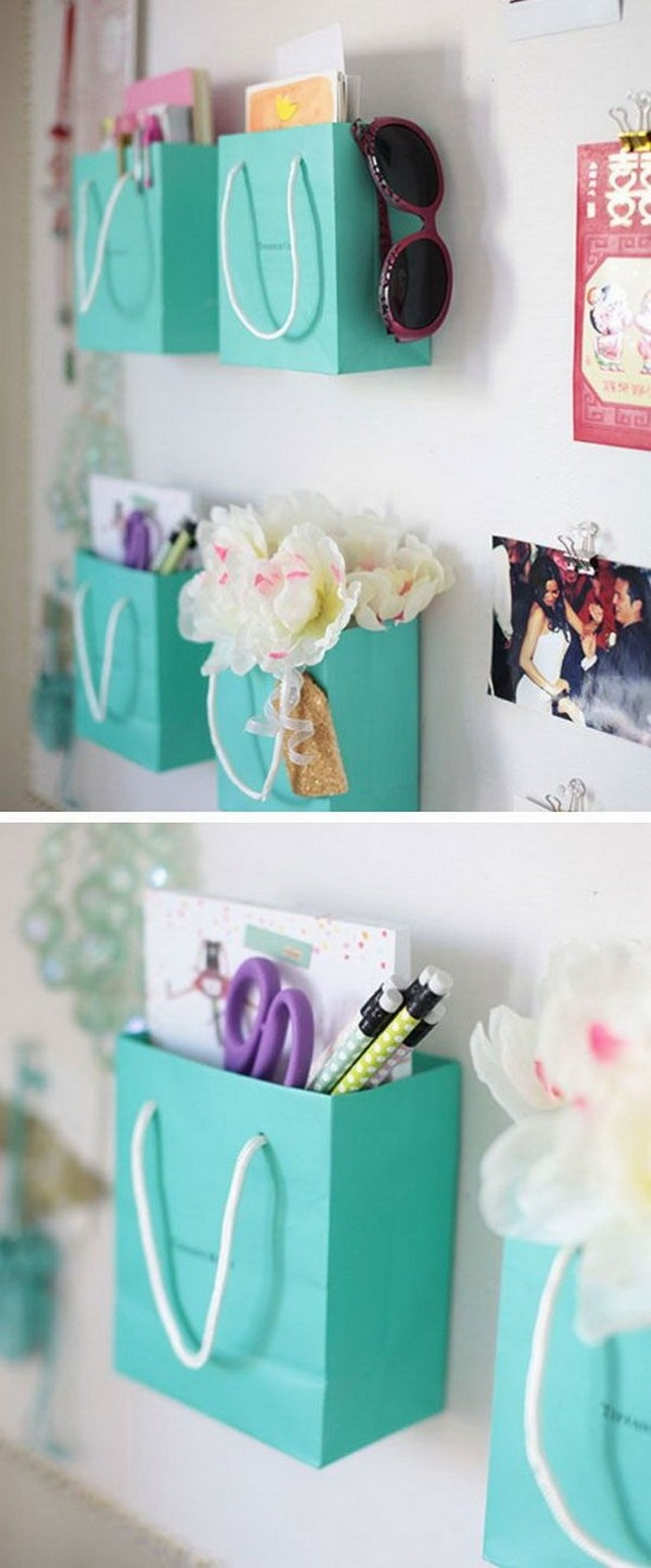 Shopping Bag Supply Holders - DIY Bedroom Décor Ideas