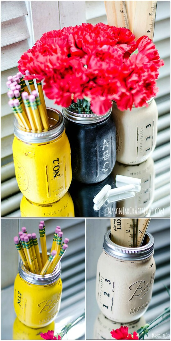 10 back to school 15 Amazing DIY Mason Jar Organizers You'll Want To Make Right Away