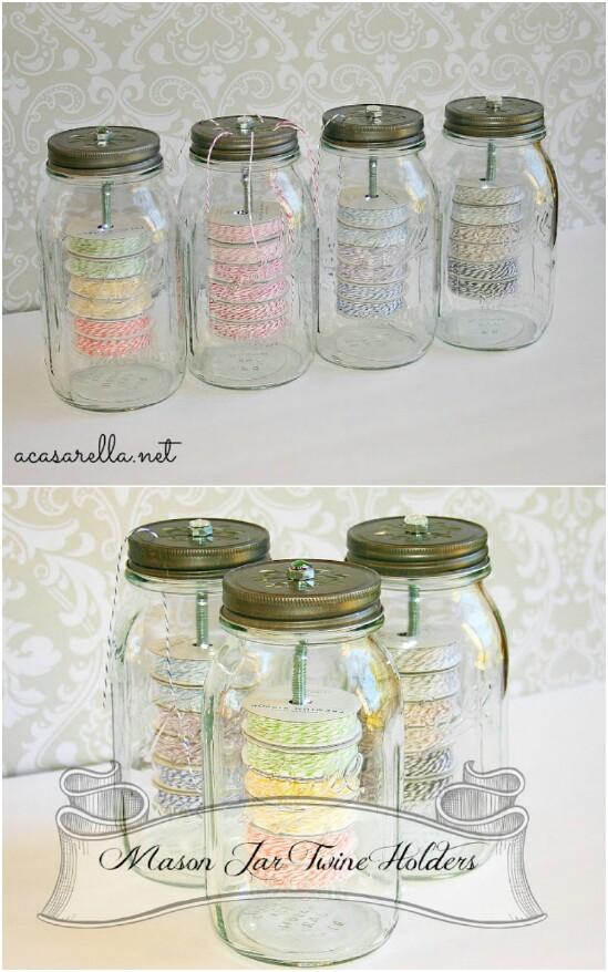 2 twine organizer 15 Amazing DIY Mason Jar Organizers You'll Want To Make Right Away
