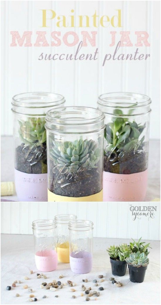 20 succulent planter jars easter jar crafts diyncrafts Wonderful Mason Jar Easter Crafts You Can Gift And Décor Your Home