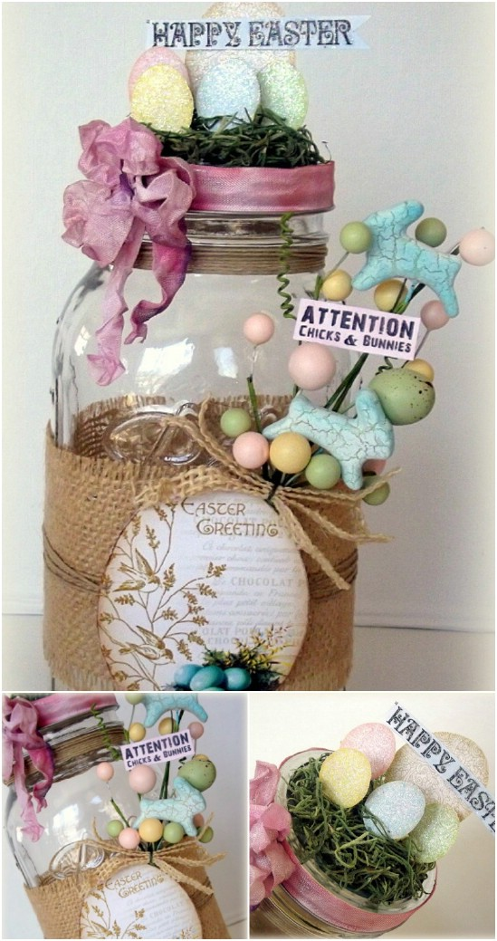 23 mantel decor easter jar crafts diyncrafts Wonderful Mason Jar Easter Crafts You Can Gift And Décor Your Home