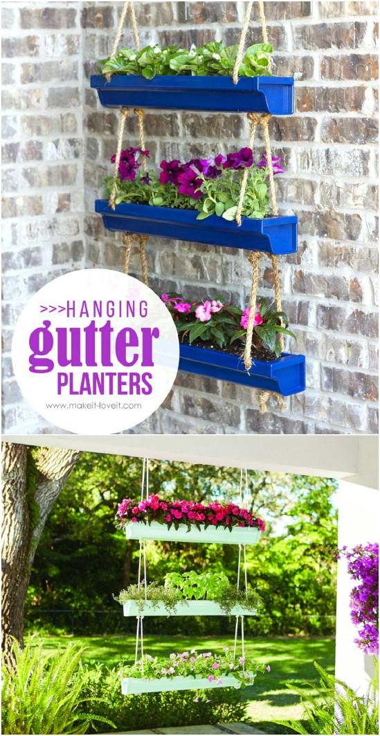 4 rain gutter planters diyncrafts spring porch decorations 16 Inspiring DIY Spring Porch Decorating Ideas