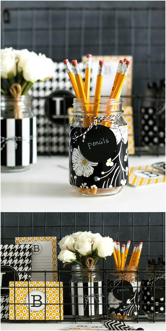 7 desk organizer 15 Amazing DIY Mason Jar Organizers You'll Want To Make Right Away