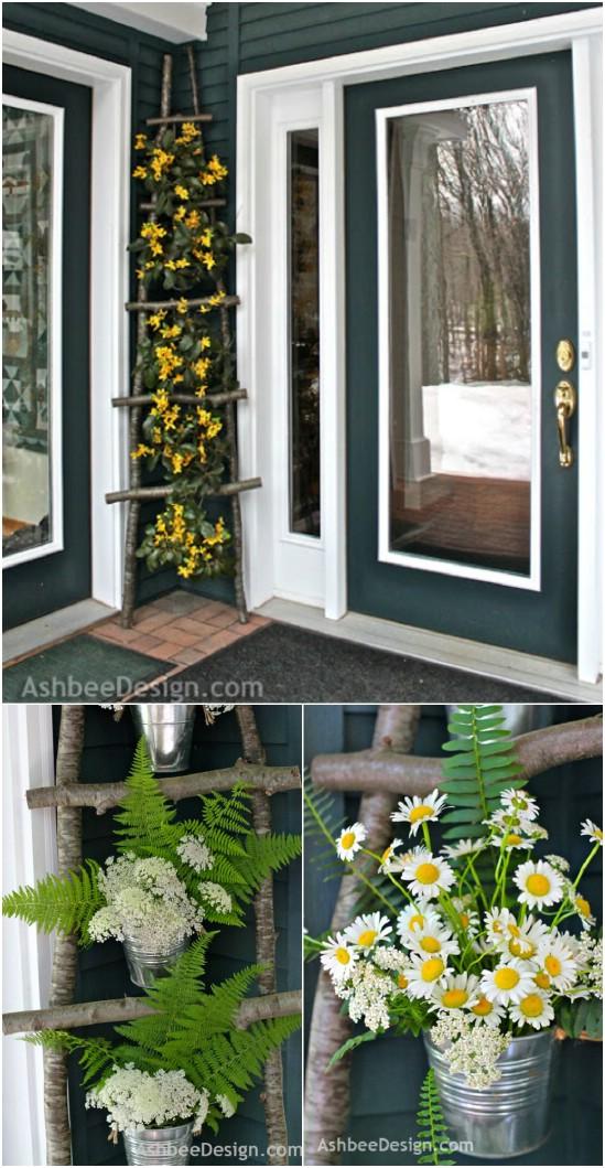 8 twig ladder diyncrafts spring porch decorations 16 Inspiring DIY Spring Porch Decorating Ideas