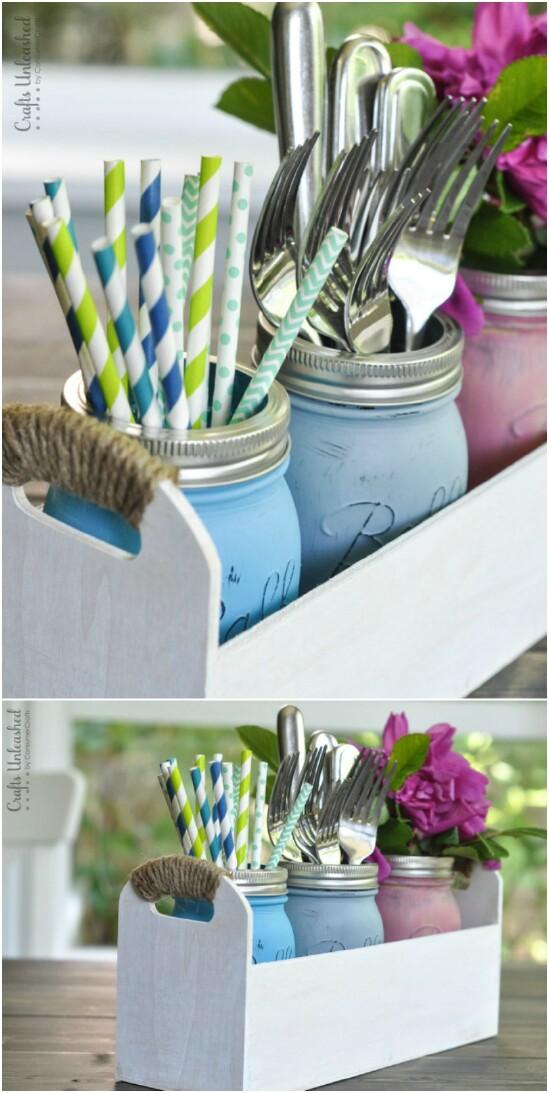 8 utensil caddy 15 Amazing DIY Mason Jar Organizers You'll Want To Make Right Away
