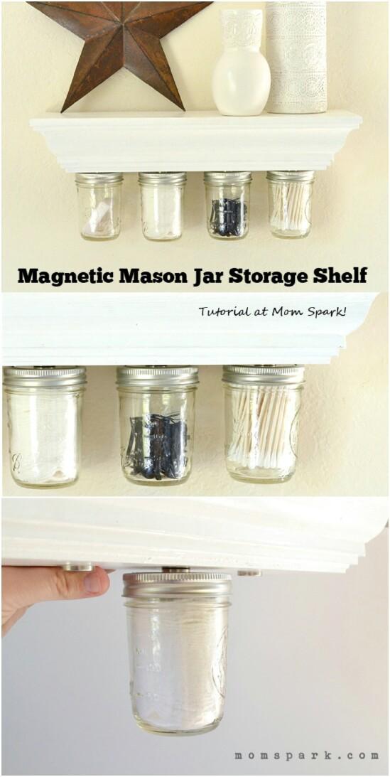 9 magnetic under shelf 15 Amazing DIY Mason Jar Organizers You'll Want To Make Right Away