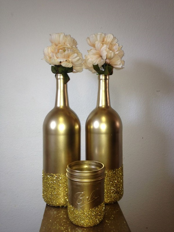 15 beautiful bottle decoration ideas you can create easily for Decorating wine bottles with glitter