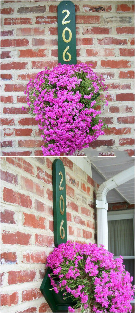 10 flower hanger house number diy projects  Beautifully Displaying DIY House Number Ideas to beautify your Home