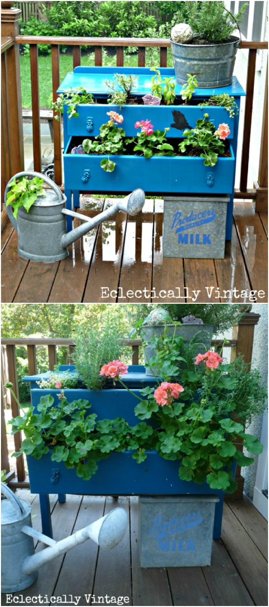 10 small dresser planter 15 Creative and Brilliant Ways to Incorporate Old Furniture
