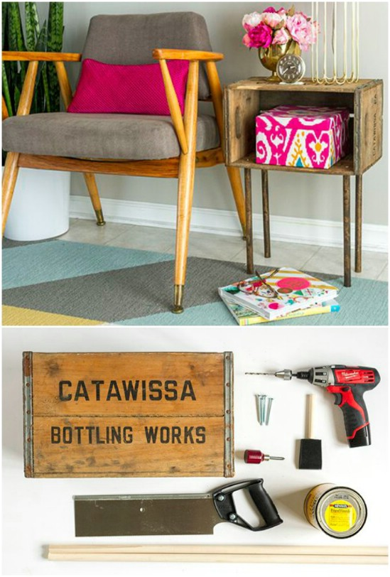 12 nightstand wooden crate repurposing projects diyncrafts Amazing and wonderful wooden crate craft ideas you should try