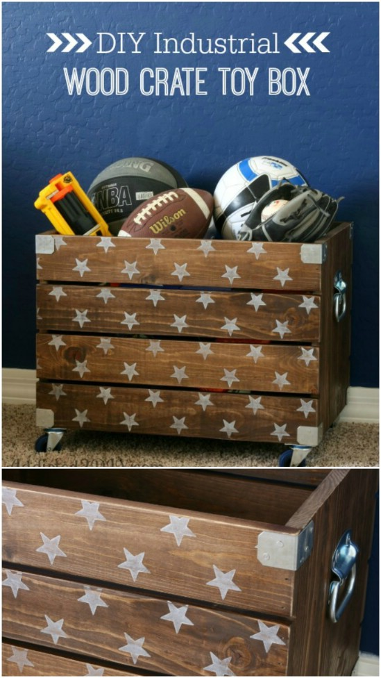 13 wood crate toy box wooden crate repurposing projects diyncrafts Amazing and wonderful wooden crate craft ideas you should try