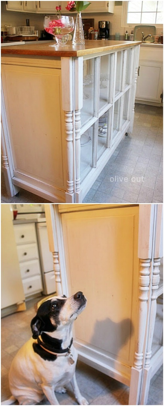 19 kitchen island old window projects diyncrafts Recycling Ideas For Old Windows You Will Amaze