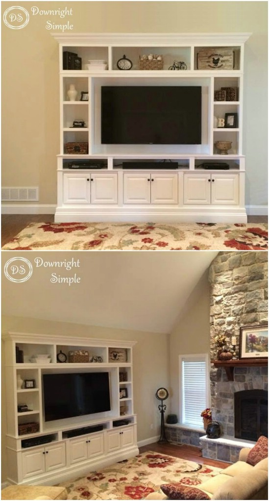 2 built in tv wall diyncrafts media center units DIY projects to make over your media center