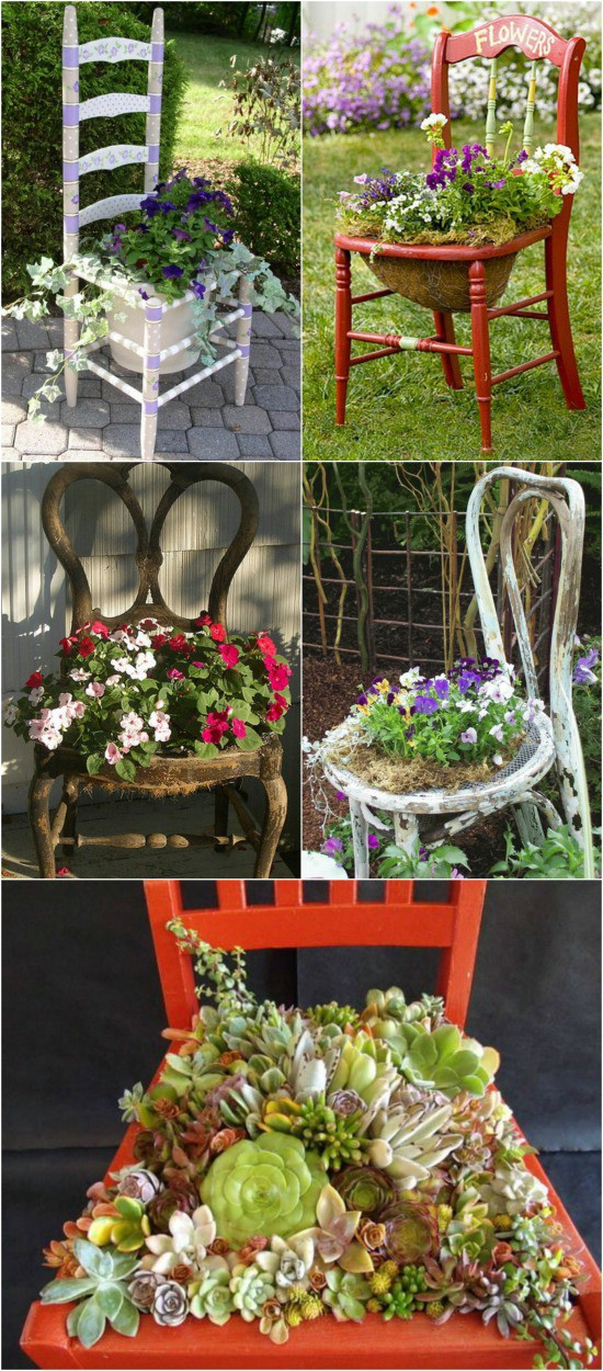 2 chair planters 15 Creative and Brilliant Ways to Incorporate Old Furniture