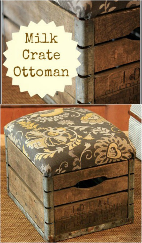 2 milk crate ottoman wooden crate repurposing projects diyncrafts Amazing and wonderful wooden crate craft ideas you should try