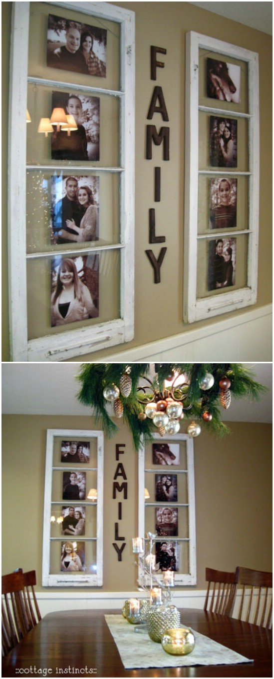 20 family frame old window projects diyncrafts Recycling Ideas For Old Windows You Will Amaze