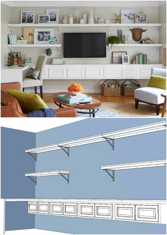 4 media wall diyncrafts media center units DIY projects to make over your media center