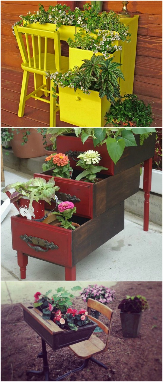 5 desk planter 15 Creative and Brilliant Ways to Incorporate Old Furniture