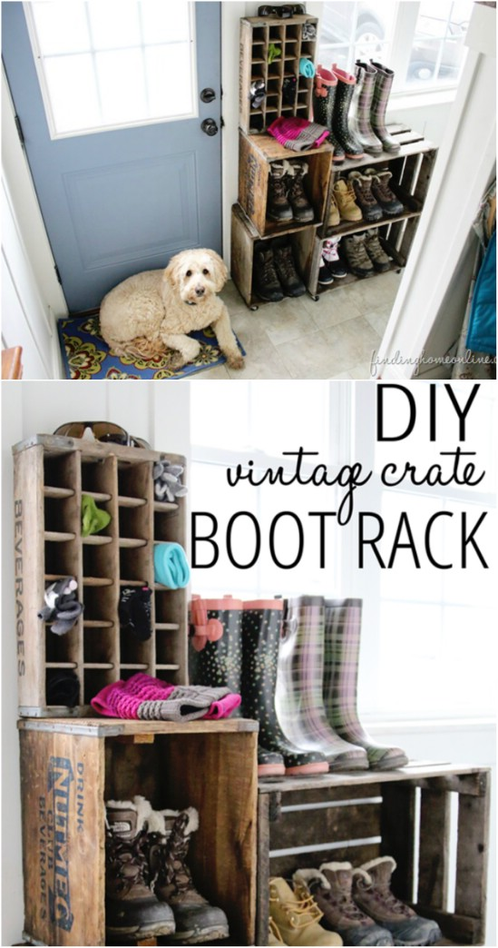 7 boot rack wooden crate repurposing projects diyncrafts Amazing and wonderful wooden crate craft ideas you should try