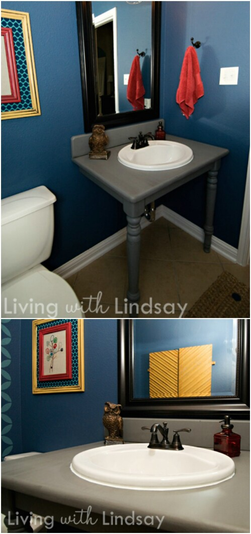 7 dining table repurposed vanity 17 Lovely DIY Bathroom Vanities to Make Your Life Beautiful and Easy