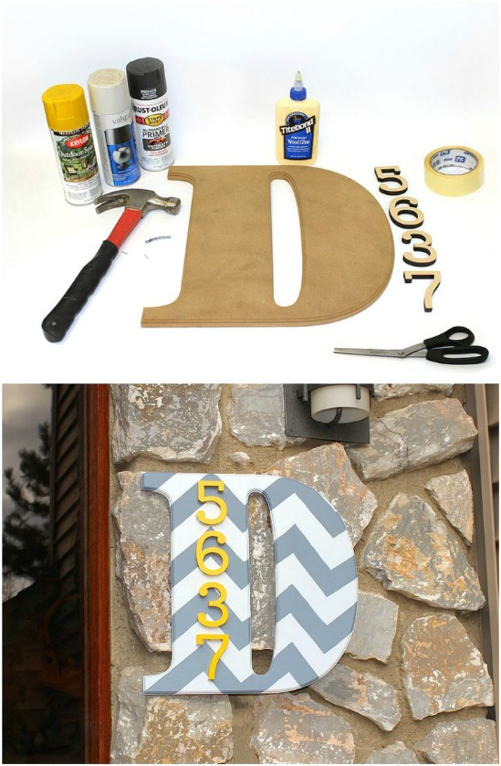 7 monogram house number house number diy projects Beautifully Displaying DIY House Number Ideas to beautify your Home