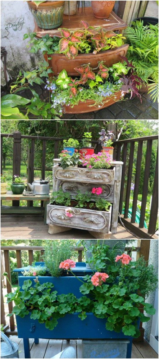 9 dresser planter 15 Creative and Brilliant Ways to Incorporate Old Furniture