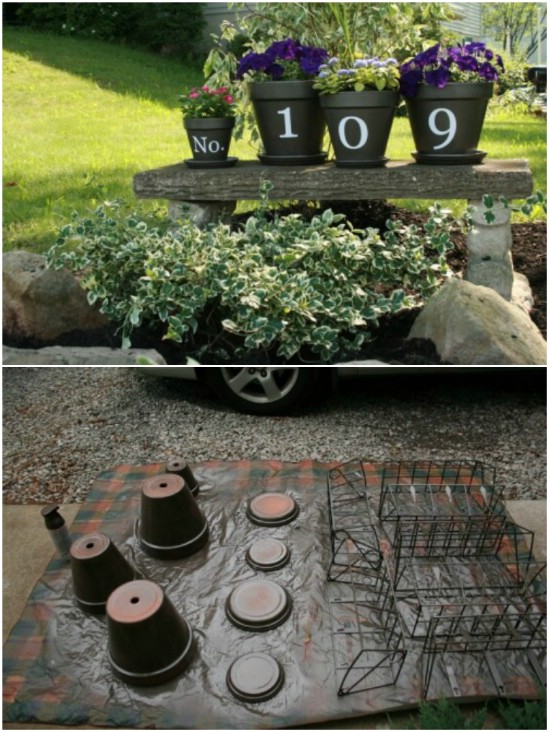 9 flower pot house numbers house number diy projects  Beautifully Displaying DIY House Number Ideas to beautify your Home